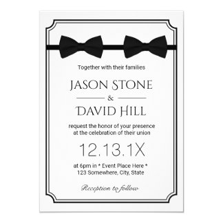 "Gay Wedding Double Bow Ties Classic Framed 5"" X 7"" Invitation Card"