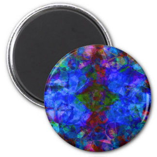 Geometric Abstract Bright Blue 2 Inch Round Magnet