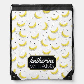 Geometric Bananas | Add Your Name Cinch Bag
