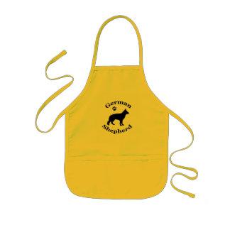 german shepherd dog black silhouette paw print kids apron