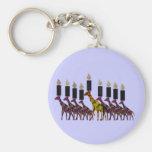 Giraffe Hannukah Menorah Basic Round Button Keychain