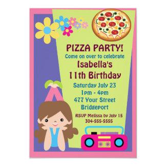 "Girl Pizza Party Birthday 5"" X 7"" Invitation Card"
