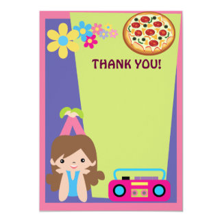 """Girl Pizza Party Thank You 5"""" X 7"""" Invitation Card"""