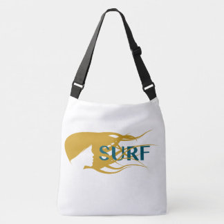 Girl Watching Waves Artwork Crossover Body Bag. Tote Bag
