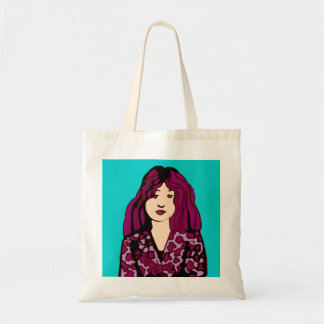 girl with purple hair budget tote bag
