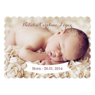 Girls Photo Birth Announcement Card