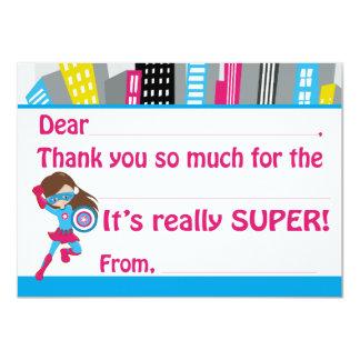 "Girls Superhero Birthday Fill in Thank You Cards 4.5"" X 6.25"" Invitation Card"