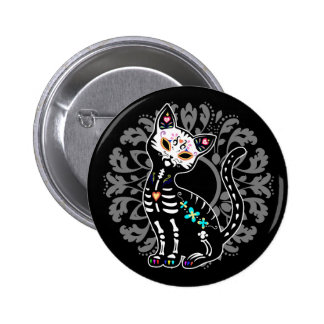 Girly Day of the Dead cute skeleton cat custom 2 Inch Round Button