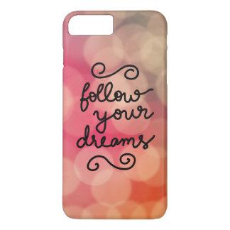 Girly Pink Bokeh Follow Your Dreams Script iPhone 7 Plus Case