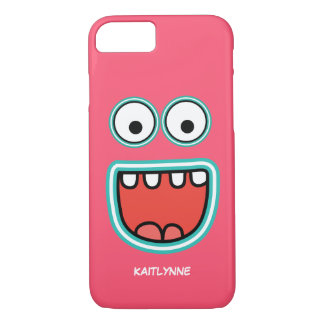 Girly Pink Googly Eye Funnyface Smiley iPhone 7 Case