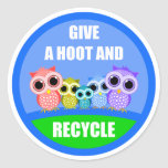 give a hoot and recycle round sticker