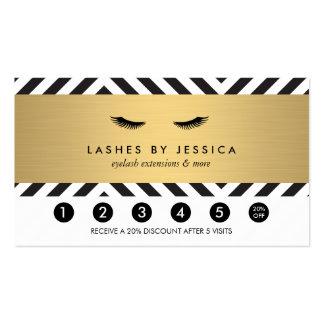 Glam Eyelashes Bold Pattern Loyalty Punch Card Business Card
