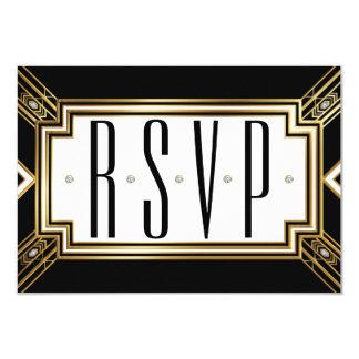 "Glamourous Art Deco Geometric Wedding RSVP 3.5"" X 5"" Invitation Card"