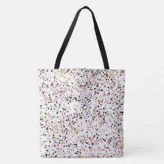 Glittery Gold Pink Black Confetti Dots Tote Bag