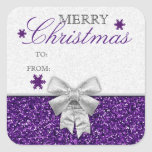 Glittery Purple/Silver Snowflakes Gift Tag Square Sticker