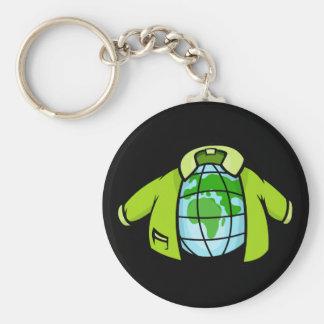 Globe Jacket Basic Round Button Keychain