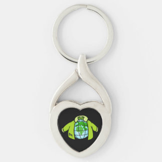 Globe Jacket Silver-Colored Twisted Heart Keychain