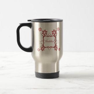 Goddess Floral Mug, Brick Red 15 Oz Stainless Steel Travel Mug