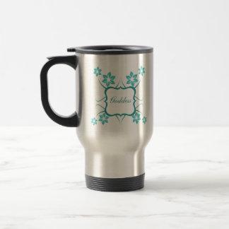 Goddess Floral Mug, Turquoise 15 Oz Stainless Steel Travel Mug