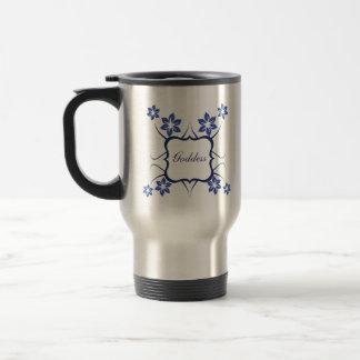 Goddess Floral Mug, Vibrant Blue 15 Oz Stainless Steel Travel Mug