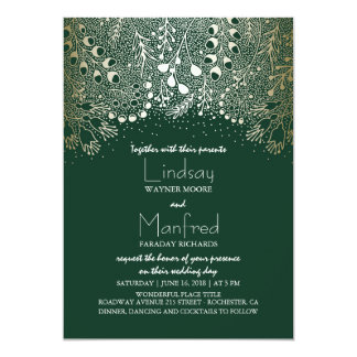 "Gold and Emerald Green Enchanted Woodland Wedding 5"" X 7"" Invitation Card"
