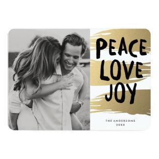 "Gold Brush Strokes | Holiday Photo Card 5"" X 7"" Invitation Card"
