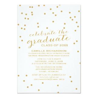 Gold Confetti Dots Graduation Party Invitation