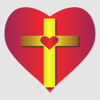 Gold Cross Heart Sticker