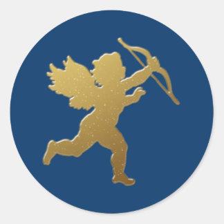 gold cupid round sticker
