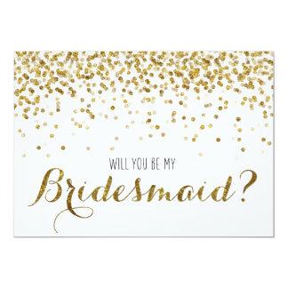 """Gold Glitter Confetti Will you be my Bridesmaid 5"""" X 7"""" Invitation Card"""
