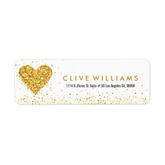 Gold Glitter Valentines Heart Illustration Return Address Label
