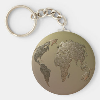 Gold Globe Basic Round Button Keychain