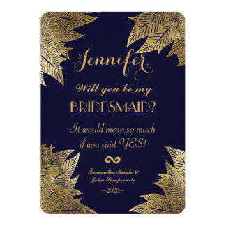 Gold Leaves on Navy Blue Bridesmaids Invitations