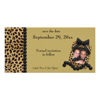 Gold Leopard And Black Pearls Save The Date Photo Cards