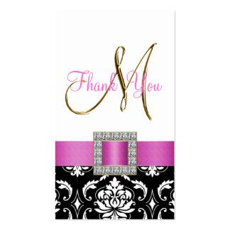 Gold, Pink, Black White Damask Wedding Thank You Business Card