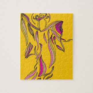 Gold Pink Ribbon Angel Abstract Art Puzzle