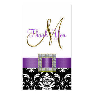 Gold, Purple, Black White Damask Wedding Thank You Business Card