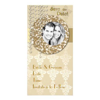 Gold Ribbon Save the Date Photo Cards