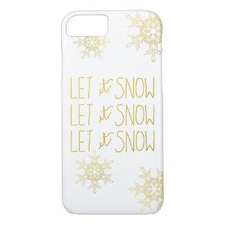 Gold Snowflakes Let It Snow Script Modern Pattern iPhone 7 Case