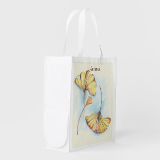 Golden Autumn Ginkgo Leaves Reusable Grocery Bags