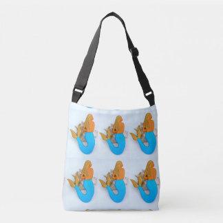 golden hair mermaids sitting tote bag