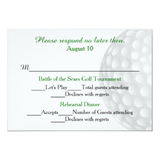 "Golf Ball Pre Wedding Festivities RSVP Card 3.5"" X 5"" Invitation Card"