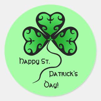 Goth shamrock St. Patrick's day Round Sticker