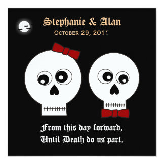 Goth Skulls Halloween Wedding Invitation