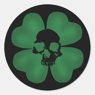 Gothic St Patricks Day spooky shamrock Round Sticker