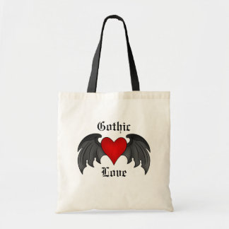 Gothic winged heart Valentines Day Budget Tote Bag
