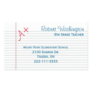 Graded Paper Teachers Business Card