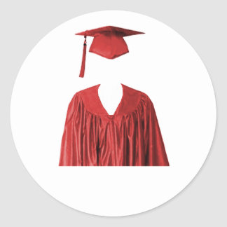 Graduate Class of Cap and Gown Template1 Round Sticker