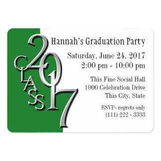 Graduation Party Green Photo Insert Card 2017 Large Business Card