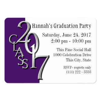 Graduation Party Purple Photo Insert Card 2017 Large Business Card